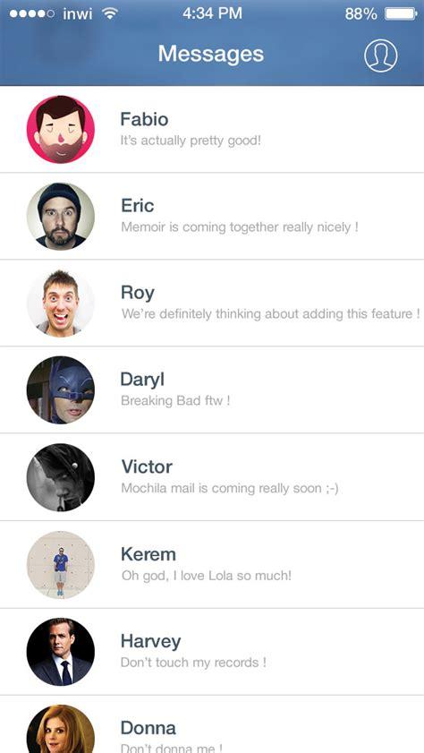 ios 7 facebook messenger ui psd free psd vector icons