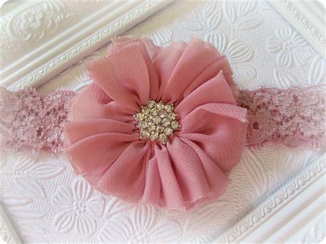 pink baby headband vintage inspired headband chiffon dusty pink vintage chiffon flower headband baby