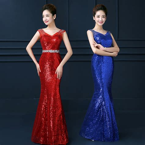 prom dresses in colors red black blue prom 2015 shining sexy sheath v neck black red blue sequins