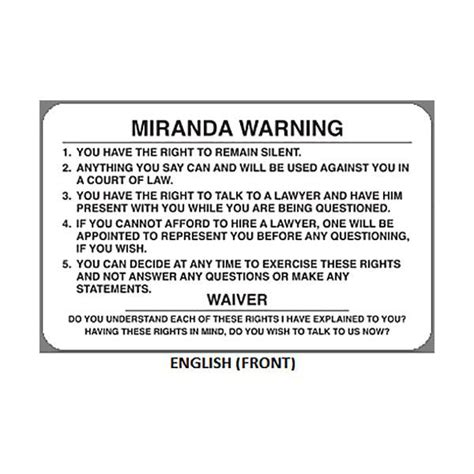 geiger miranda warning card chief supply