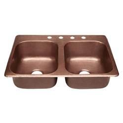 Drop In Copper Kitchen Sinks Shop Sinkology Raphael 33 In X 22 In Antique Copper