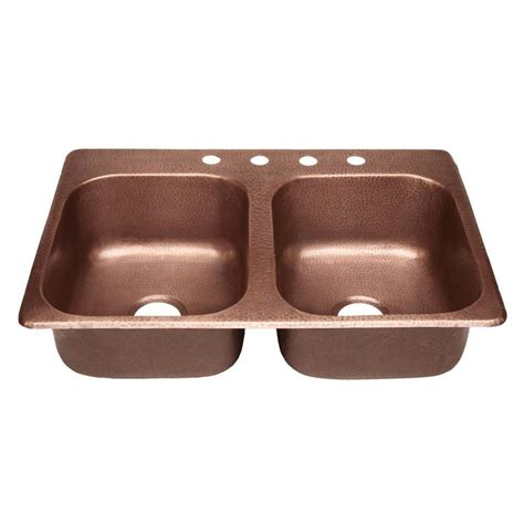 Drop In Copper Kitchen Sinks Shop Sinkology Raphael 33 In X 22 In Antique Copper Basin Copper Drop In 4