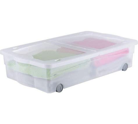 plastic under bed storage home 50 litre wheeled plastic underbed storage box with lid storage space ebay