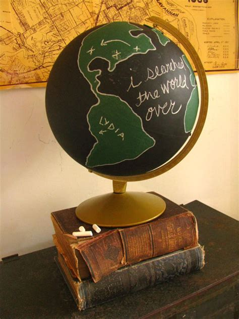chalkboard globe diy globe diy projects as the world turns the cottage market