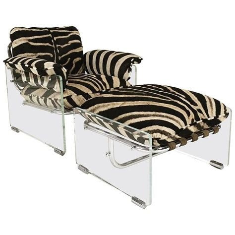 zebra chair and ottoman pace collection argenta lucite and chrome lounge chair and