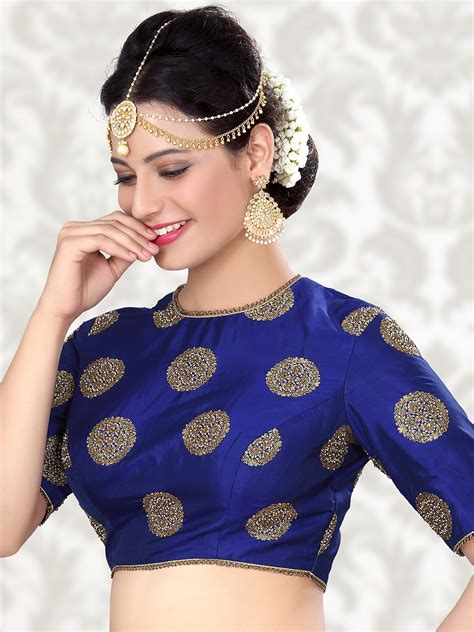 blouse pattern name attractive raw silk blue ready made blouse for price or