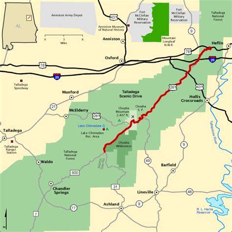Talladega Al Detox Programs by Talladega Scenic Drive Map America S Byways