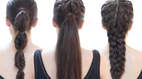 quick and easy hairstyles for gym easy quick gym hairstyles step by step youtube