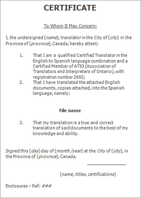 certification letter for translation declaration translators translation certification letter