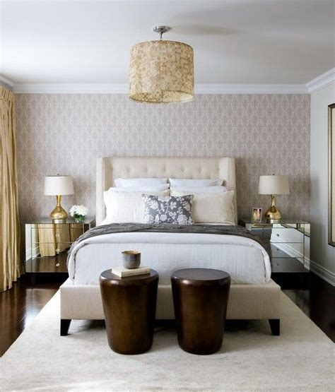 wallpaper accent wall bedroom toronto interior design group contemporary ivory and gold