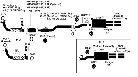 2003 honda crv exhaust system diagram honda prelude exhaust diagram from best value auto parts