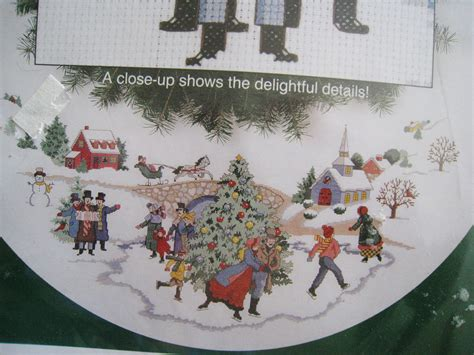 sunset christmas counted cross tree skirt kit dickens
