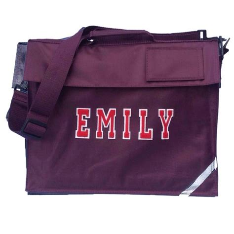 personalised school book bag burgundy by pink pineapple
