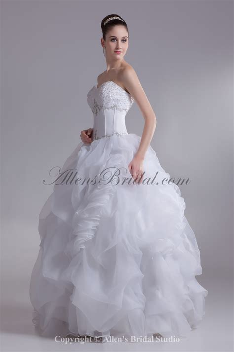 Organza Wedding Dress by Allens Bridal Organza Sweetheart Neckline Floor Length