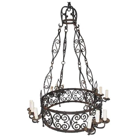 Large Wrought Iron Chandeliers Large 1930 Wrought Iron Chandelier For Sale At 1stdibs