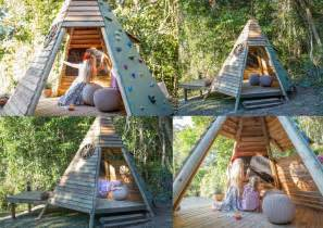 wooden teepee playhouse with climbing quot wall quot side how