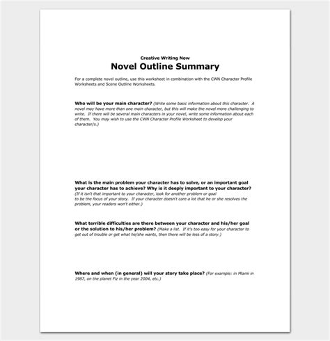 Outlines Of Pyrrhonism Book 1 Summary by Novel Outline Template 11 For Word Excel Pdf Format