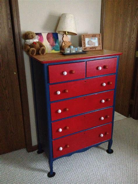 refinished dresser   sports themed bedroom diy