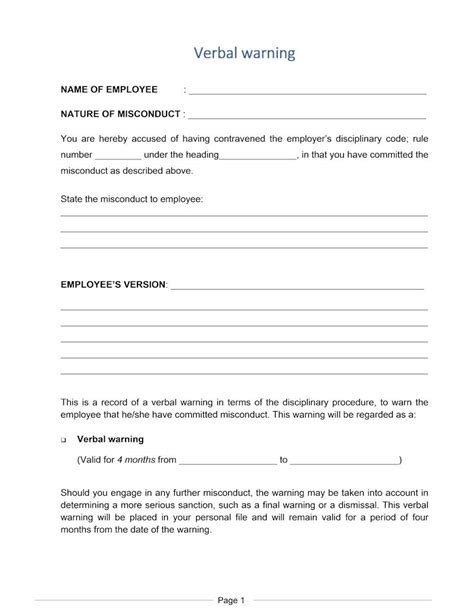 verbal warning template letter verbal warning document labour south africa
