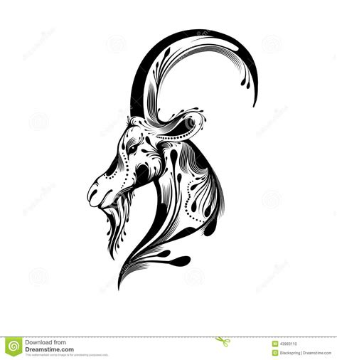 tribal goat head stock vector image of beautiful black