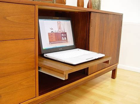 cove laptop desk walnut credenza by 171 the mid century modernist