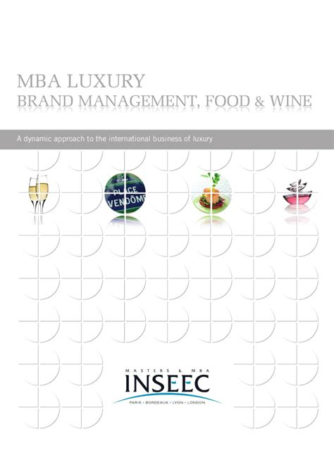 Luxury Brand Management Mba by Inseec Mba Luxury Brand Management Food Wine By O Et D