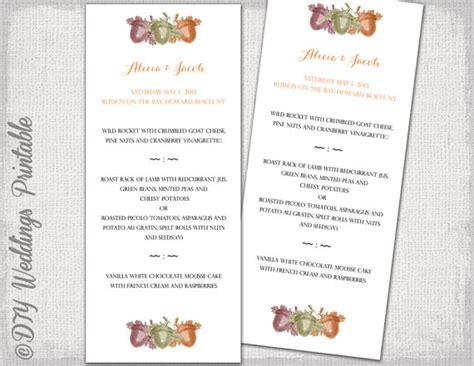 fall wedding menu template acorns printable menu