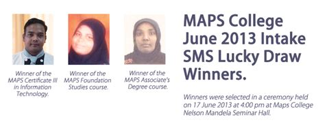 Bedfordshire Mba Intakes by Winners Of The Maps College June 2013 Intake Sms Lucky