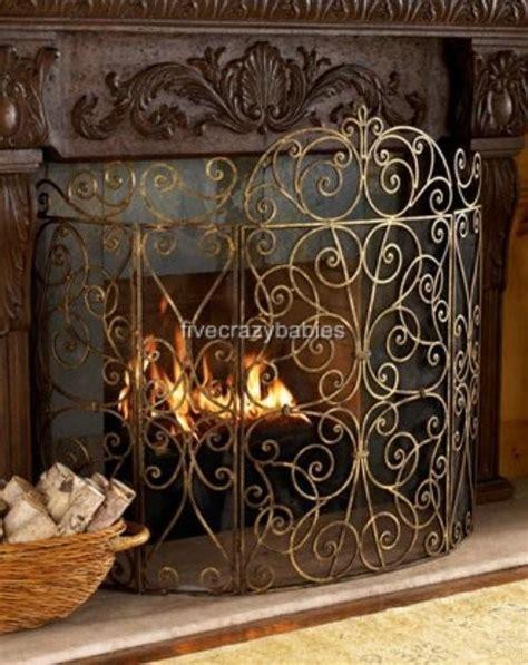 neiman scroll iron firescreen fireplace