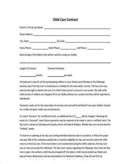 Sles Of Daycare Contracts by Sle Daycare Contracts Service Contracts Child Care Staff Confidentiality Agreement