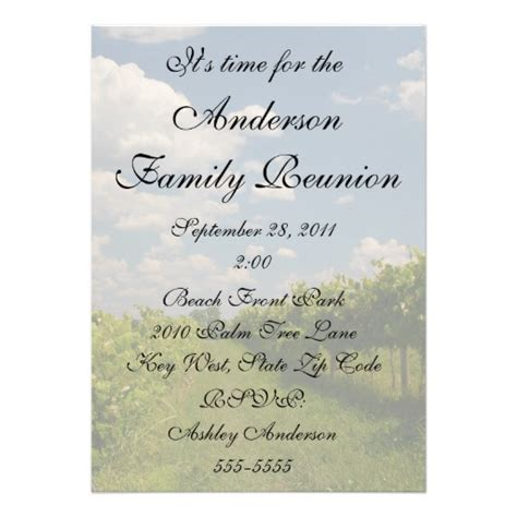 family invitations beautiful vineyard wine country family reunion
