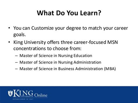 King Msn Mba by King S Master S In Nursing Msn