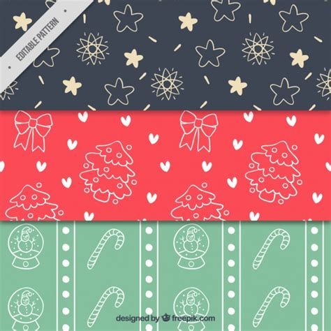 cute pattern set hand drawn cute christmas patterns set vector free download