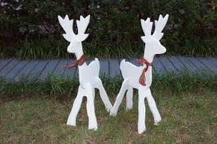 small white deer set christmas yard art decoration