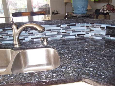 Blue Tile Kitchen Countertop by This Backsplash Has The Same Tile As The Granite