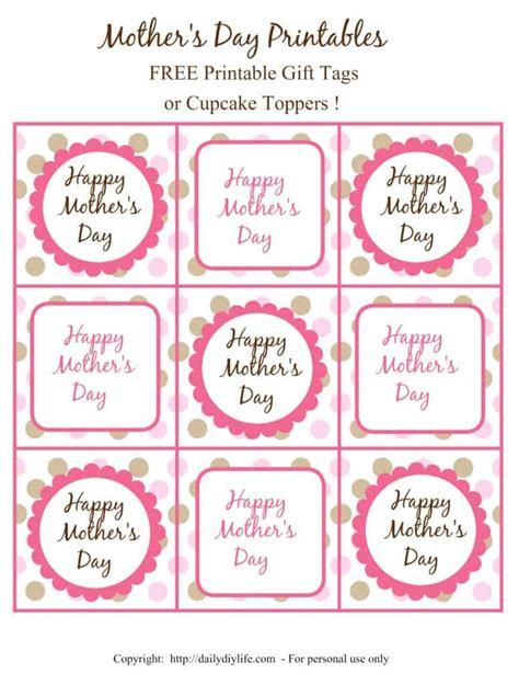 free printable gift certificates for mother s day mother s day free printable gift tags or cupcake toppers