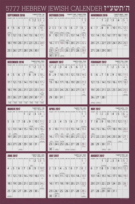 Hebrew Calendar 2018 Hebrew Wall Calendar Poster Wine Color 5777 2017