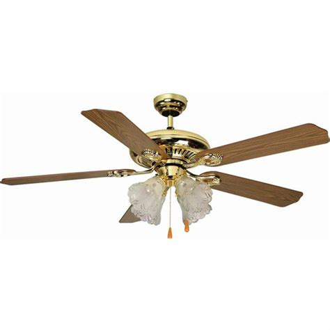 Brass Ceiling Fan With Light Aloha 174 52 Quot Dual Mount Bright Brass Ceiling Fan With 4 Light Kit 163175 Lighting At