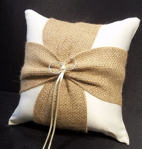 Ringbearer Pillows by Burlap Accent Ivory Or White Wedding Ring Bearer Pillow