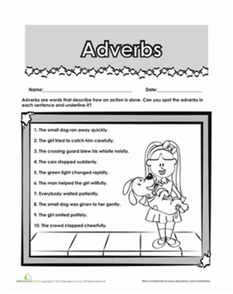Adverbs 2nd Grade Worksheets by Find The Adverb Worksheet Education