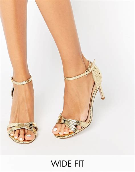 gold wide fit sandals asos hide and seek wide fit heeled sandals in metallic lyst