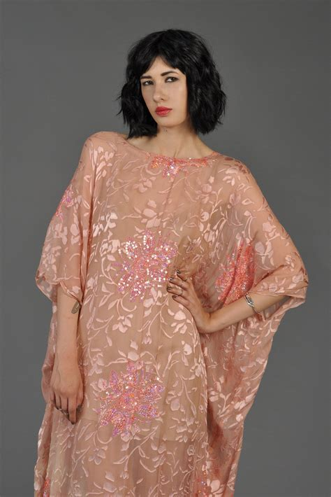 Kaftan Maxy 004 sheer blush burnout velvet sequin caftan bustown modern