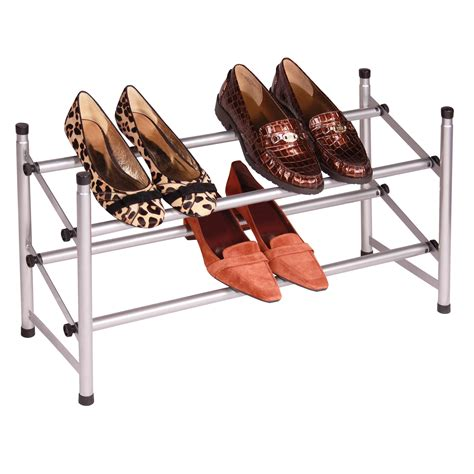 Retractable Shoe Rack by Silver Stacking Telescoping Shoe Rack