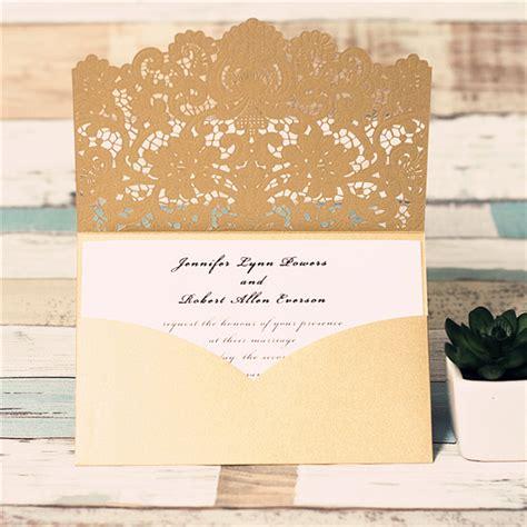 Luxe Laser Cut Wedding Invitation - graceful gold laser cut pocket wedding invitation luxe