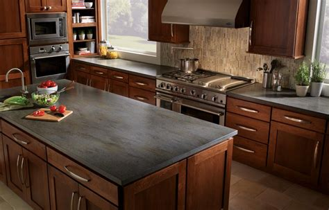 Gray Slate Countertops Brown Cabinets Gray Countertops Search Look