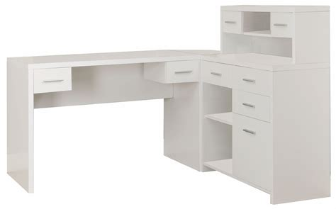 white  shaped home office desk  monarch