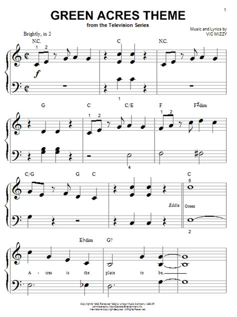 theme song green acres green acres theme sheet music direct