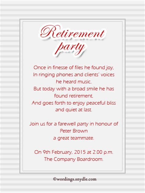 retirement party invitations sle verses pictures to pin