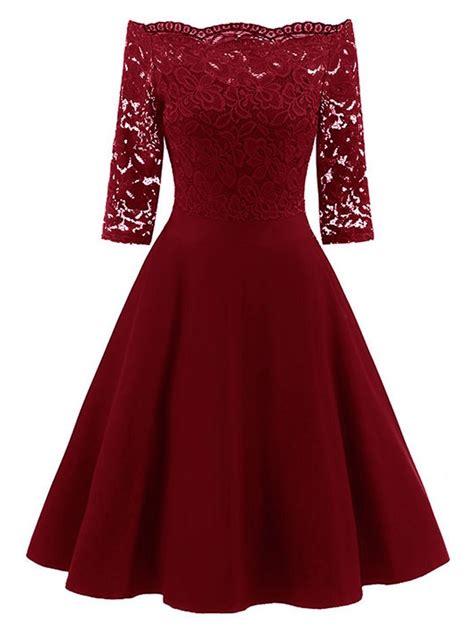 Shoulder Lace Panel Dress lace panel the shoulder vintage flare dress in wine