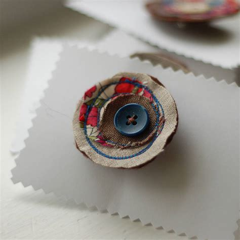 Handmade Brooches Pins - handmade linen and liberty print brooch by handmade at